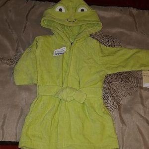 Green hooded bathrobe baby towel Sz 0-9 months